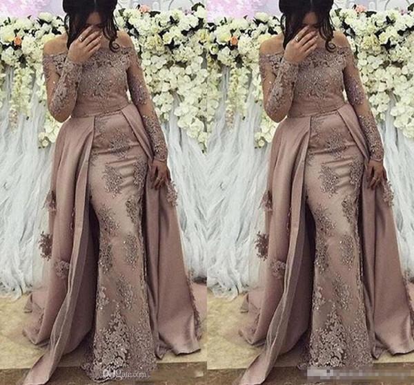 Sheer Mesh Top Lace arabische Meerjungfrau lange Prom Kleider Abend Langarm Tüll Applique Perlen formale Prom Party Kleider Celebrity Kleider