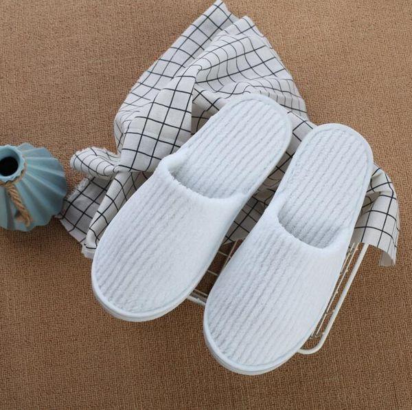 Chinelos Descartáveis Coral Branco Fleece Anti-slip Grosso chinelo Convidado usado Travel Hotel Stripe Macio Confortável Descartável Chinelos CLS236