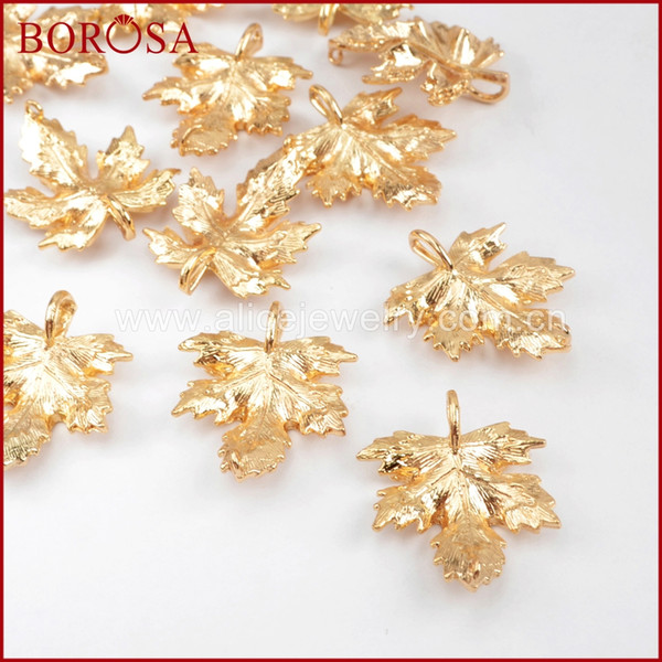 wholesale 50/100PCS New Gold Color Brass Carved Maple Leaf Connectors Metal Double Bails Jewelry Findings for Fashion Jewelry PJ107