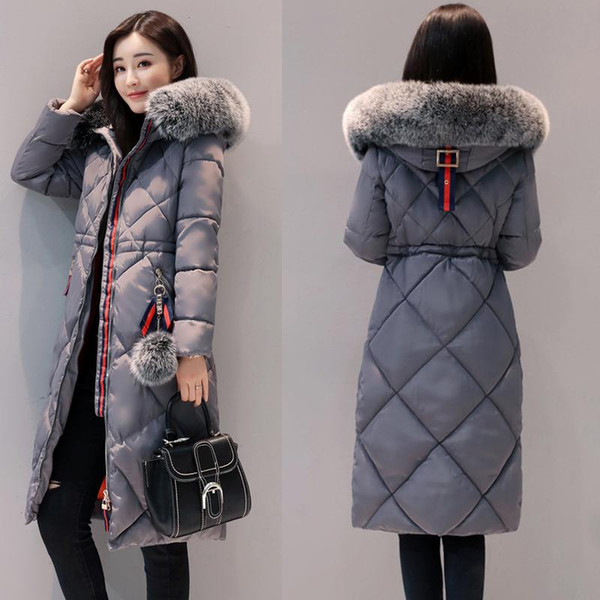 Down Parkas for Womens Clothing Winter Thick Winter Long Down Coat Natural Fur Collar Hooded Plus Size 3XL Free Shipping