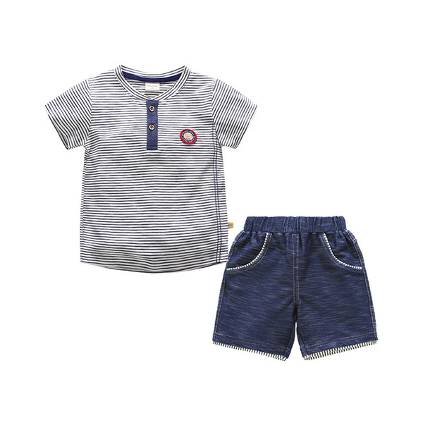 Baby Boys Clothes Sets Summer Striped Tshirt Cotton Children Clothing 2pcs Tops+ Short Pants Kid Tracksuit for Boy Casual Outfit 2019