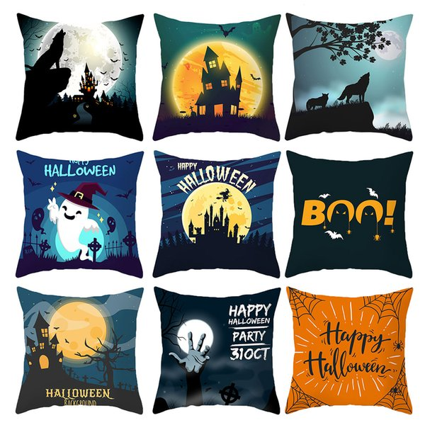 Halloween Festival Colorful Candy Cushion Covers Pumpkin Skull Party Time Pillow Cases 44X44cm Sofa Chair Decoration