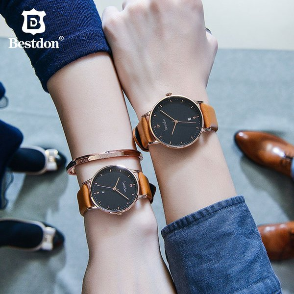 Bestdon Couple Watch Japan Quartz Waterproof Fashion Women's Wrist Watches Italy Cowhide Strap Clock Trending Classic For Lovers