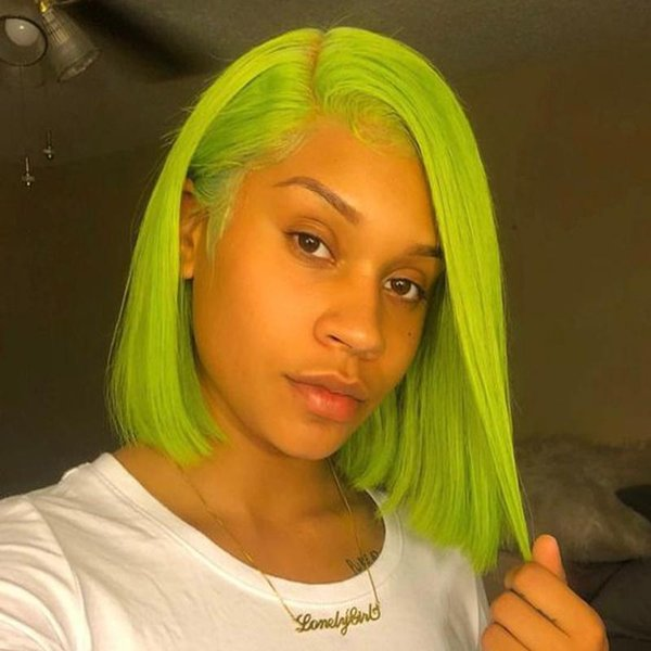 Colored Mint Green Bob Full Lace Human Hair Wigs Pre Plucked With Baby Hair Peruvian Short Lace Front Bob Wigs For Black Women
