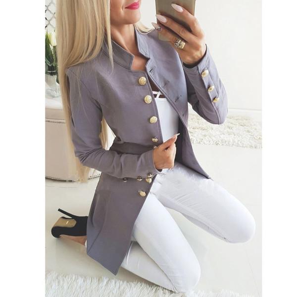 Стиль взлетно-посадочной полосы женские золотые пуговицы двубортный пиджак твердый верхняя одежда Slim Fit пальто прямая поставка хорошее качество