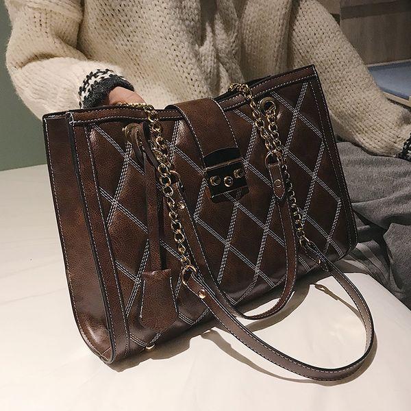 Retro Fashion Female Big Tote Bag 2019 New Quality Pu Leather Women's Handbag Lattice Lock Chain Large Shoulder Messenger Bags