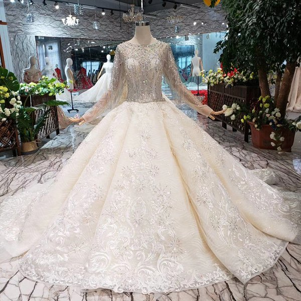 2019 Newest Luxury Lebanon Wedding Dresses Shining Beaded Detail Applique Long Tulle Sleeve Wedding Gown 50cm Train Lace Up Back Bridal Gown