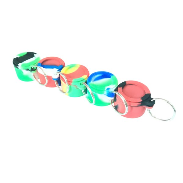 6 Ml Silicone Container Round Food Grade Silicone Non Stick Concentrate Containers Jar Storage Box With Key Chain