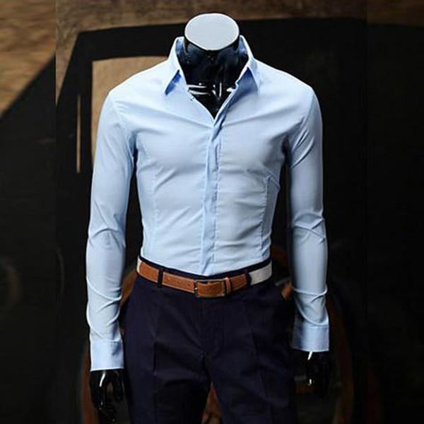 NEW 2019 Fashion spring autumn anti-wrinkle joker business Casual Solid Hidden clasp Slim Khaki Evening Dress shirts #603694