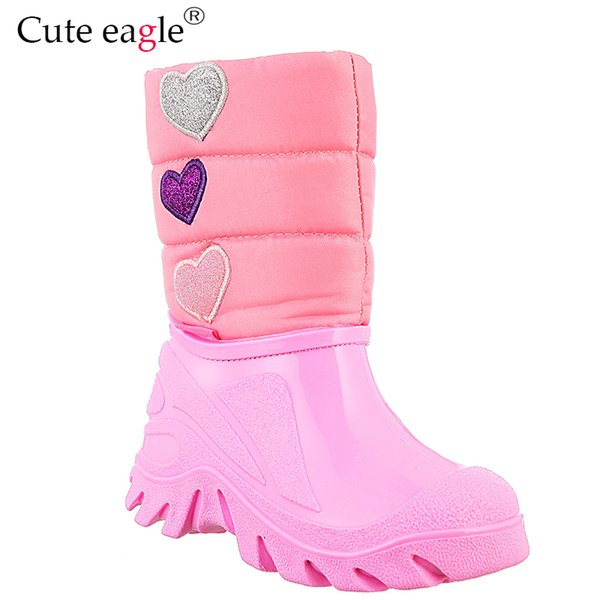 Baby Girl Winter Boots Rubber Snow Boots Girls Plush Embroidery Shoe For Outdoor Activities Warm Woolen Waterproof Rain
