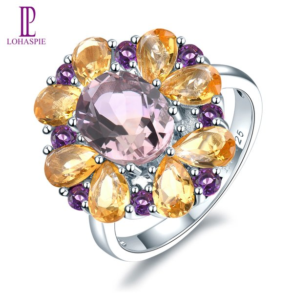 Engagement Ring for Women 5.7ct Natural Pink Ametrine Citrine Solid 925 Sterling Silver Gemstone Fine Fashion Elegant Jewelry Best Gift New