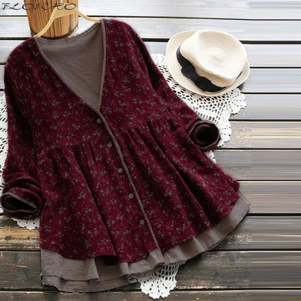 Spring Autumn Women Long Sleeve Blouse Vintage Floral Print Shirt Plus Size Boho Cardigan Lady Button-up Tops Blusa Feminina New C19041001