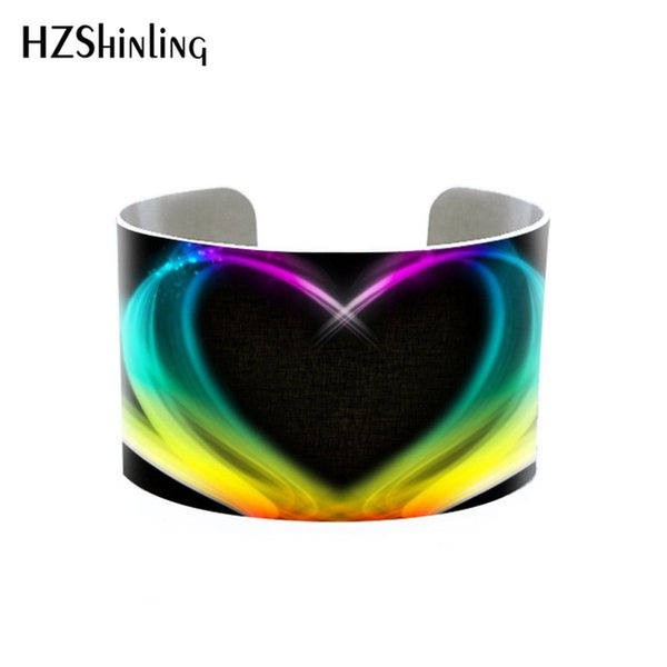 Cool Rainbow Color Stripe Rotation Colorful Photos Bracelet Cuff Rainbow Color Designs Bangle & Bracelets Gift for Girls Women