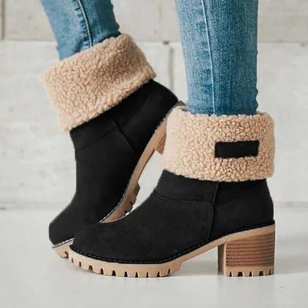 Большой размер 35-43 Женщины Сапоги зимние женские Обувь Женщина Мех теплый снег сапоги площади Высокий каблук голеностопного Черный Зеленый Botas Mujer