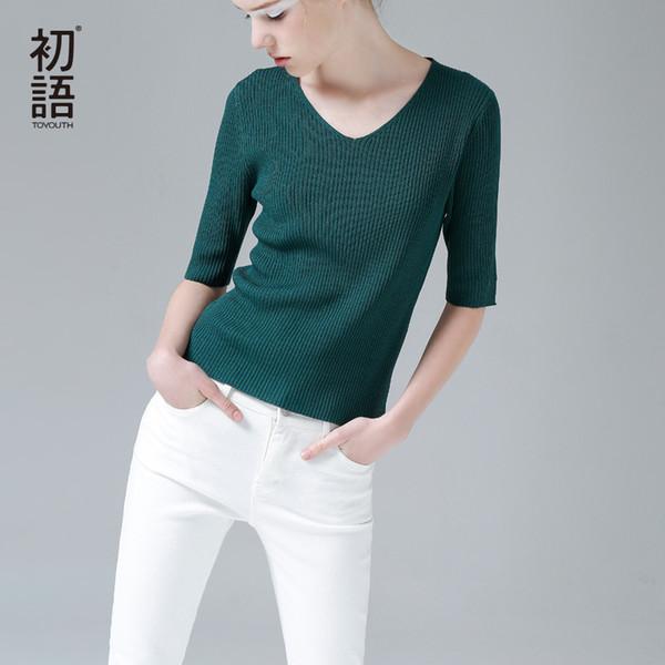 Toyouth Yüksek Elastik Kadın T-shirt 2019 Sonbahar Katı Yarım Kollu T Gömlek Kadın Baz V Yaka Tee Gömlek Femme Ince Ince Tişörtleri Y19060601