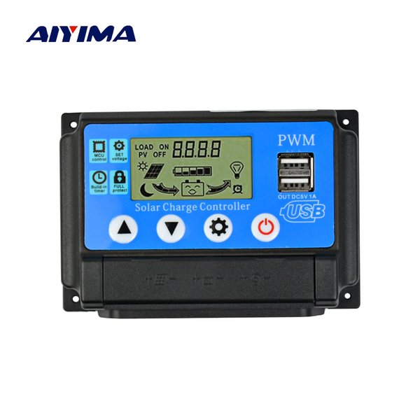 Cheap Cells IYIM 50A 12V/24V LCD Solar Charge Controller 40A 30A 20A for Solar Panels Regulator Controller Battery Lamp Current Display