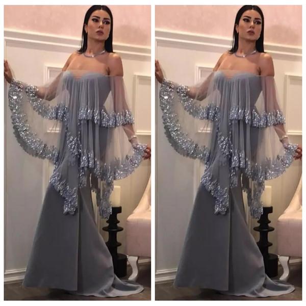 2019 Nueva sexy astilla sirena vestidos de noche Bateau sin tirantes sin mangas Wrap satén de tul apliques más tamaño formal vestidos de fiesta de baile personalizados