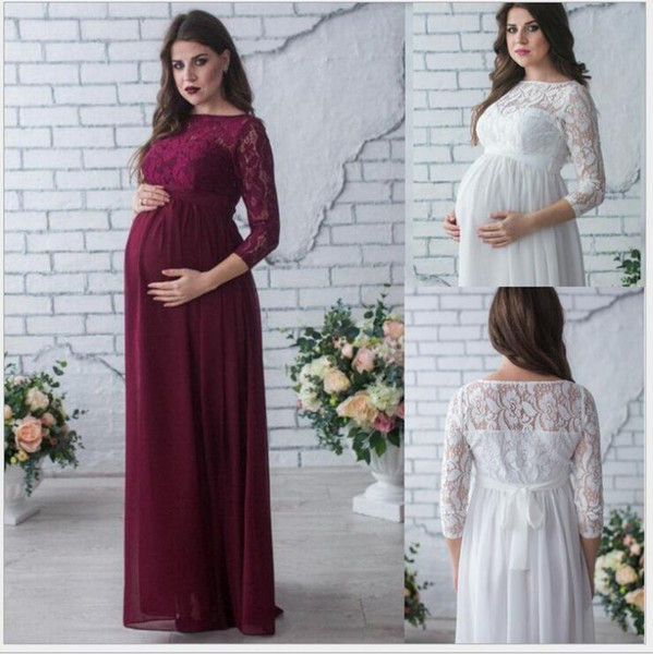 Vestidos de maternidad de encaje Vestidos embarazadas Vestido elegante Vestido de manga larga Vestido atractivo Suelte Maxi Embarazo Largos accesorios de fotografía Ropa A5333