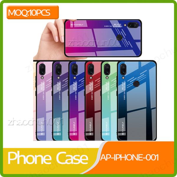 10x Kademeli Renkli Temperli Cam Durumda Yumuşak TPU Tampon Şok Emilimi Telefon Kapak Kılıf iphoneXs max için iphone 5 6 7 8 artı DHL gemi