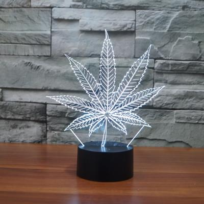 top popular Leaf 3D Illusion LED Lamp Night Light 7 RGB Colorful USB Powered 5th Battery Bin Touch Button Dropshipping Gift Box 2020