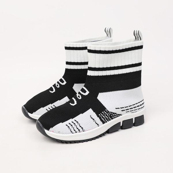Bahar Yeni Çocuk Ayakkabıları Koreli Sürümü Çocuk ler Yün Örme Çorap Ayakkabı Erkekler ve Kızlar Elastik Spor Boş Ayakkabı 0818