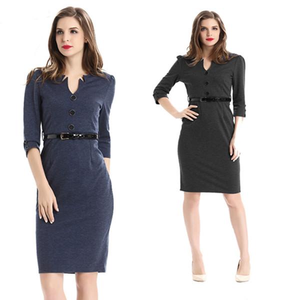As mulheres trabalham vestidos formais cor sólida com decote em v magro caixilhos senhoras escritório negócios bainha joelho vestido primavera nova