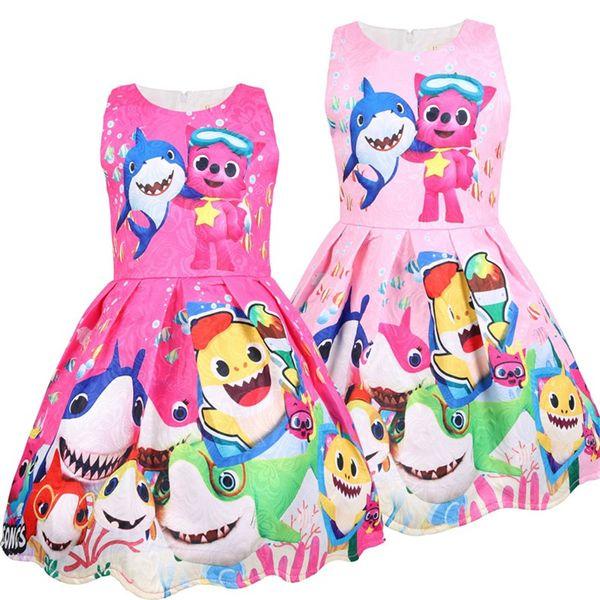 Girls Summer Baby Shark Dress Sleeveless Cartoon Print Dresses Cosplay Princess Tutu Skirt Party Dress Children Clothes 4 Colors New A3131