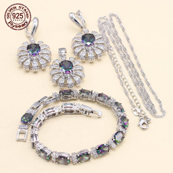 925 Silver Jewelry Set Necklace Pendant Earrings Bracelet Women Christmas Gift Gentle Style Multi Color Rainbow Semi-Precious
