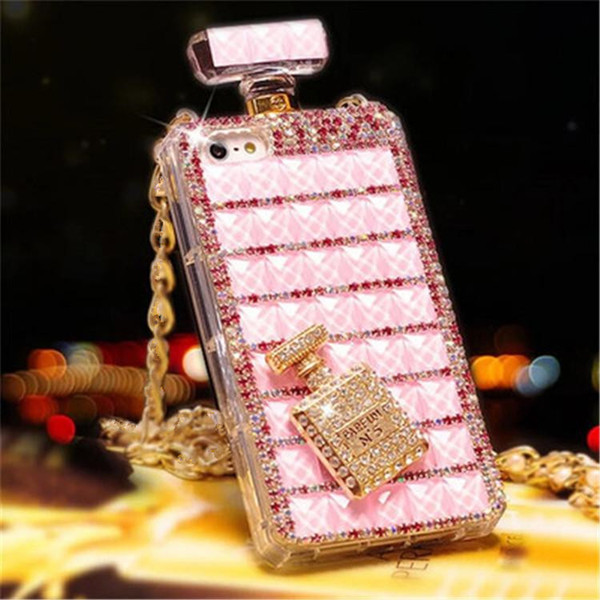fashion luxury Classic perfume bottle mobile phone shell chain protection cover case for iphone 7/8 xs xr max hot sale