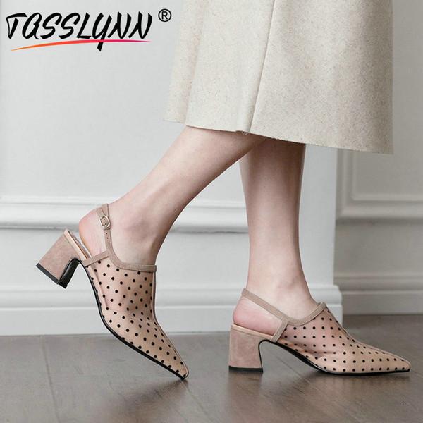 TASSLYNN 2019 Damen Pumps Mesh Spitz Designer Schuhe Frauen Luxus Schnalle Polka Dot Mules Schuhe Größe 34-43