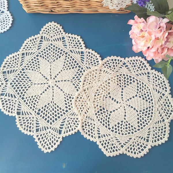 Yazi 4 Teile / los Vintage Hand Häkeln Tischset Baumwollspitze Tischsets Abdeckung Pad Deckchen 12 zoll
