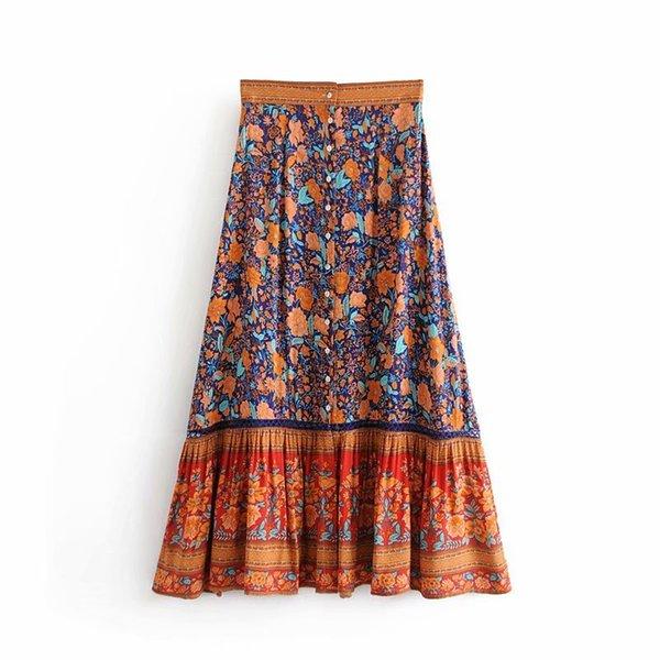 Jupe d'été imprimée bohème avec taille haute, couleur assortie, rangée de boutons, ourlet large, jupe plissée, longue rétro