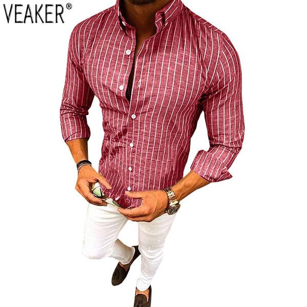 2018 New Men's Cotton Linen Striped Shirt Male Autumn Sexy Slim Fit Shirt Long Sleeve Red Blue Striped Linen M-3XL