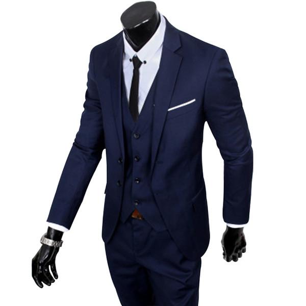 (S-6XL) Large Size Men's Suit New 2018 / Men's Fashion Slim Suit Business Casual Three-piece Jacket Jacket Pants Vest