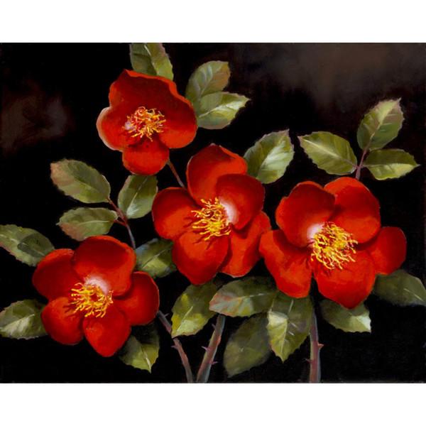 Dipinti ad olio di fiori fatti a mano Red Roses opere d'arte moderna e colorata per decorazioni murali