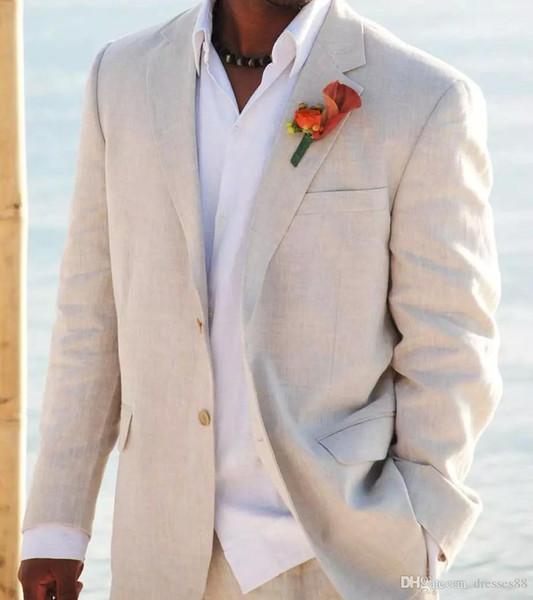 Trajes de lino simples Solapa con muesca Trajes de boda para hombres Trajes de novio Esmoquin Trajes para hombres de 2 piezas Slim Fit Beach Groomsmen Suit Jacket + Pants W003