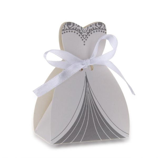 12PCS Kağıt Şeker Hediye Çanta Kılıfı Düğün Favor Beyaz Kurdele Elbise Tasarım
