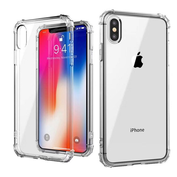 top popular Soft TPU Transparent Clear Phone Case Protect Cover Shockproof Cases For iPhone 7 8 plus X XR XS Max S8 S9 S10 note8 2019