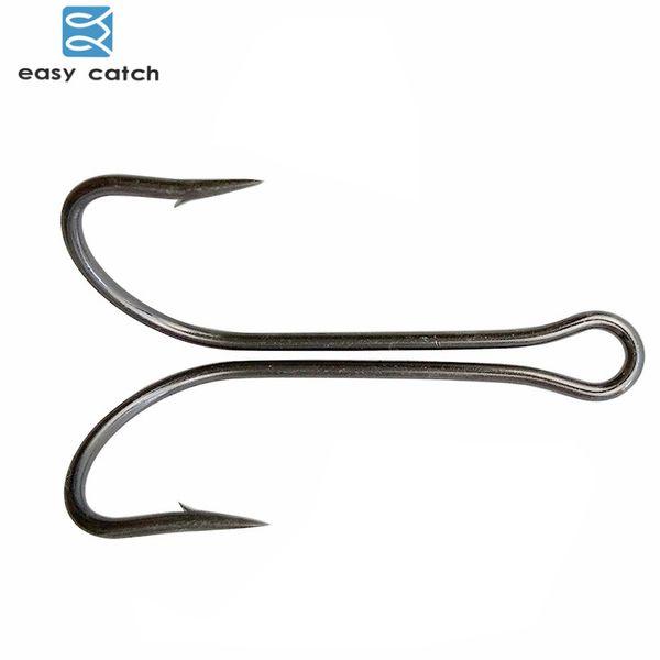 Baratos Fishhooks Easy Catch 20pcs / lot de acero de carbono Gancho de pesca del gancho de la manivela que ata el gancho doble para los accesorios de pesca de señuelo de Bass