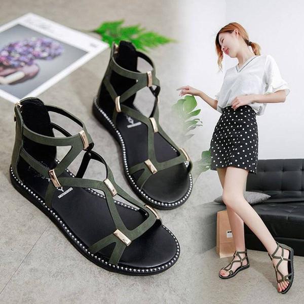 Sandal women's summer 2019 new Korean version of the flat bottom leisure non-slip junior high school student shoes Luomaxie girl