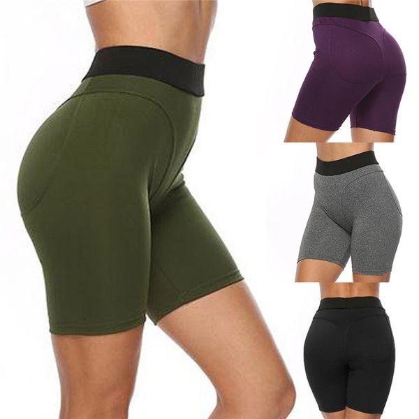 Спортивные аксессуары для женщин Sexy Yoga Yoga леггинсы с высокой талией Тонкие твердые короткие леггинсы Спорт Фитнес Короткие 40MY24