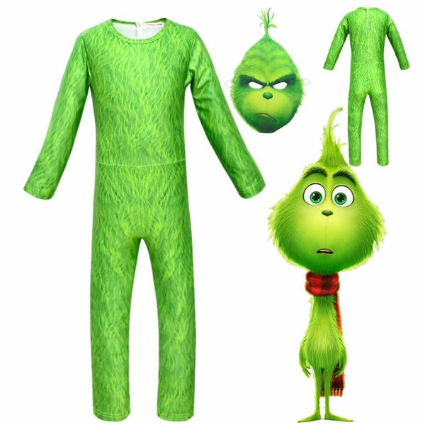 How The Grinch Stole Christmas Costumes.2019 The Grinch Mask Cosplay Costumes How The Grinch Stole Christmas Costume Christmas Props With Green Hair For Kids Jumpsuits From Newyearable
