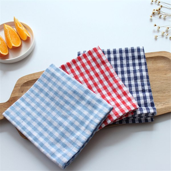 best selling 5pcs pure cotton checked napkin cloth western food background cloth nordic style dish cloth cloth table cloth of good quality