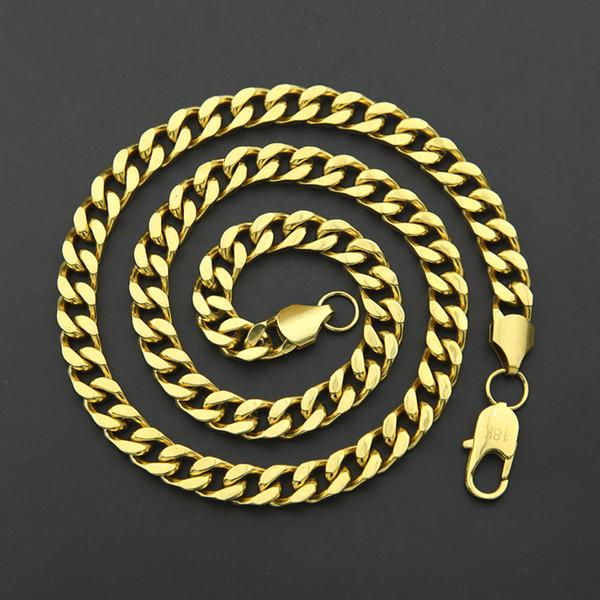 Men Hip-hop 9mm Cuban Necklace 316L Stainless Steel Four-Face Grinding Chain cuban link chain