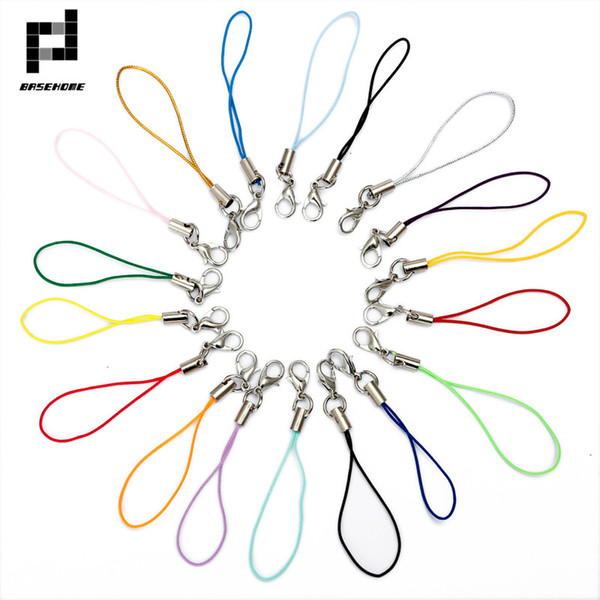 BASEHOME 50pcs Mulitcolor Lobster Clasp(12mm) Lanyard Strap Cord (5cm) Mobile Straps Charm Nylon Key Ring Chain DIY