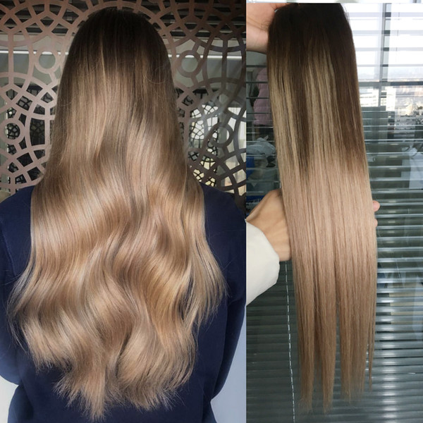 Ombre Human Hair Weft Extensions Virgin Brazilian Peruvian Malaysian Indian Straight Balayage Brown Blonde T4 18 Ombre Hair Weave Bundles Best Hair