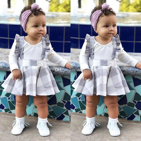 2019 bébé filles à manches longues blanc barboteuse blanche plaids jupe jarretelle robe tenues vêtements 2 pc ensemble pour 0-24 M