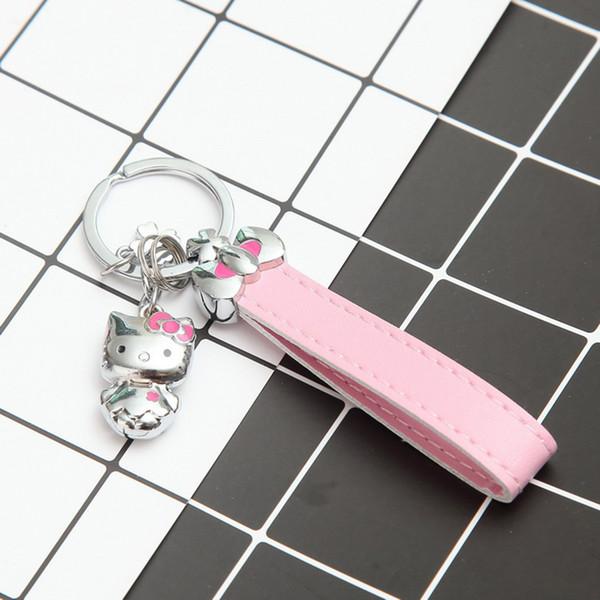 Hello Kitty розовый кожаный Канат брелки для женщин мини милый кот брелок автомобиля изысканный шарм брелок лучший подарок на День Рождения