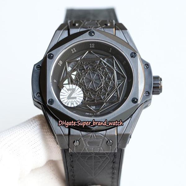 Z Melhor versão BANG 45 MM 415.CX.1114.VR.MXM17 Tatuagem padrão Geométrico Dial Japão Miyota Automático Mens Watch Leather Strap Esporte Relógios