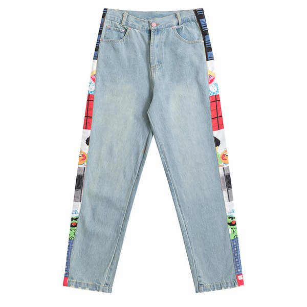 Nuevas mujeres de la venta caliente Retro Jeans Full Length Side Print Sesame Street Pattern Ladies College British Wind Denim Pantalones Hole
